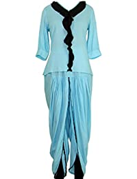 Crop Top And Dhoti Ethnic Suits Set For Women – Half Sleeve, Front Flap, V-Neck Light Blue Top And Dhoti Pant...