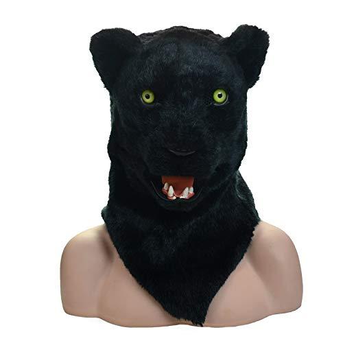 Kopf Panther Kostüm - MUJUN Panther Kopf Maske, Maskerade Halloween Karneval Geburtstag Party Kostüm realistisch handgefertigt angepasst Tier Cosplay beweglichen Mund mit Fell verziert (Color : Black, Size : 25 * 25)