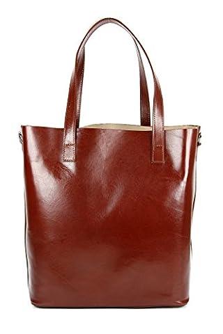 BELLI ital. Designer Leder Handtasche Shopper - schwarz | braun | rot | cognac - Farbauswahl - 32x36x15 cm (B x H x