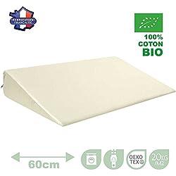 Modulit - Plan incliné 100% Coton Bio pour lit Bébé 60x120, Déhoussable, Fabrication Française