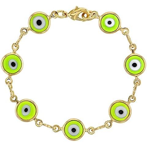 Placcata oro 14 k, in vetro di Murano, colore: verde, con protezione per bambini, motivo Evil Eye, lunghezza 4,5 cm, colore: Turchese