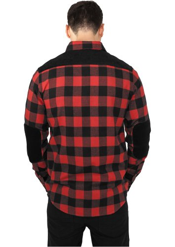 Urban Classics Cord Patched Flanell Black / Red Black and White