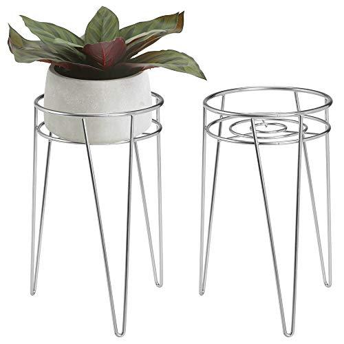 mDesign 2-er Set Midcentury Pflanzenständer für Blumen, Sukkulenten aus Metall - runder Blumenständer im modernen Design - platzsparende Blumensäule für drinnen und draußen - silberfarben