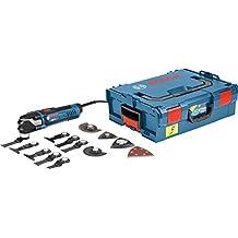 Bosch GOP 40-30 Professional - Pack con multicortadora, 16 accesorios y maletín L-BOXX, 400 W, color negro y azul