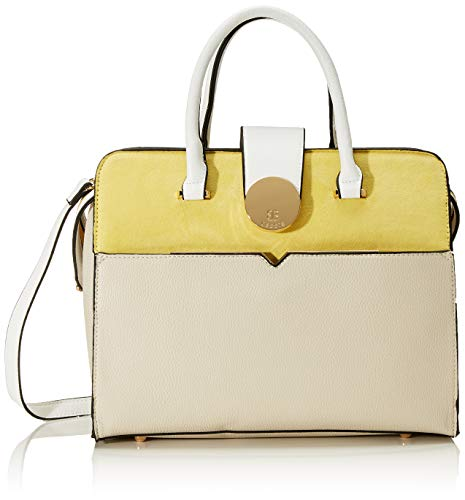 Bessie London Damen Colour Block Tote With Gold Circle Clip, Gelb (Yellow), 14x36.5x32 Centimeters