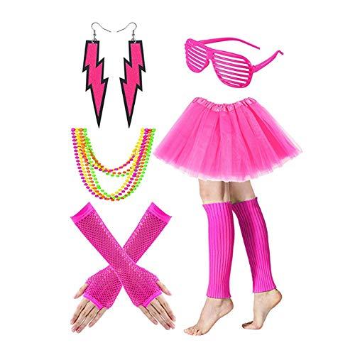 Fuxiang 1980s Jahre Kostüm Kleid Zubehör Sets Fancy Party Dress Neon Erwachsener Tutu Beinwärmer Fishnet Handschuhe Halsketten 80er Mädchen Night Out Party Kleid Rot