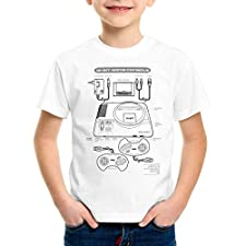 style3 Mega 16-bit Camiseta para Niños T-Shirt Gamer Classic Retro Videoconsola Sonic Drive, Color:Blanco, Talla:152