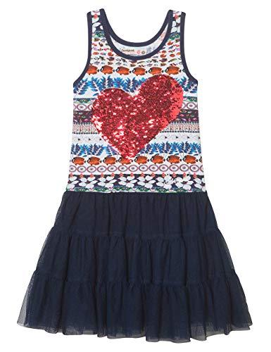 Desigual Mädchen Kleid Girl Knit Dress Straps (Vest_BRIDGERPORT), Blau (Navy 5000) 116 (Herstellergröße: 5/6)