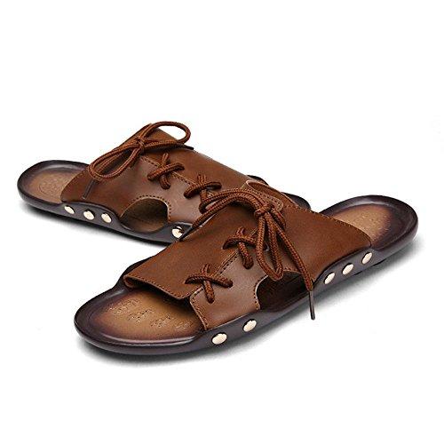Männer WANGXN Retro Pantoffeln Casual Pantoffeln Bequeme Anti-Slip-Hausschuhe 608 brown