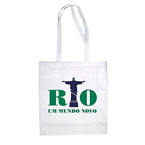 Jutebeutel - Rio - Um mundo novo - a new world - von SHIRT DEPARTMENT weiss-dunkelgrün