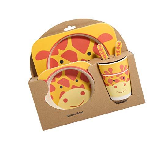 Lidahaotin Babysbreath17 Kinder-Geschirr-Set 5er Baby-Bambusfaser-Cartoon Bowl Tableware Set Baby Tier Geschirr Set Kleinkind-Cup-Löffel-Gabel
