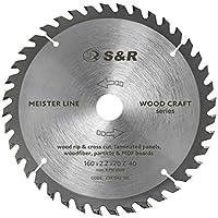 S&R Hoja Sierra Circular de 160 mm x 20 mm (+ 16 mm anillo) x2,2mm 40D / Disco de Corte Madera. Calidad profesional