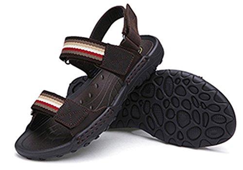 SK Studio Herren Sandalen Mit Klettverschluss Leder Outdoor Strand Sandale Mit Wechselfußbett Wasserfest Trekkingsandalen Dunkelbraun