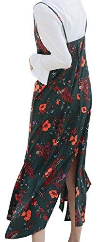 erdbeerloft - Damen Knöchellanges Maxikleid mit Blumen Muster, Viele Farben Grün