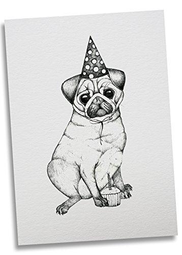 Ligarti Postkarte Mops - Premium Bambus Papier 350g - 100% Handmade in Deutschland - Mops Hund Hut Geburtstag, Postkarte, Grußkarte, Geschenkkarte, Einladung