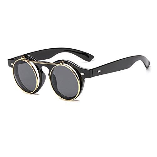 Sommer Reisen Steampunk Sonnenbrille Flip-up Runde Sonnenbrille Retro Sonnenbrille