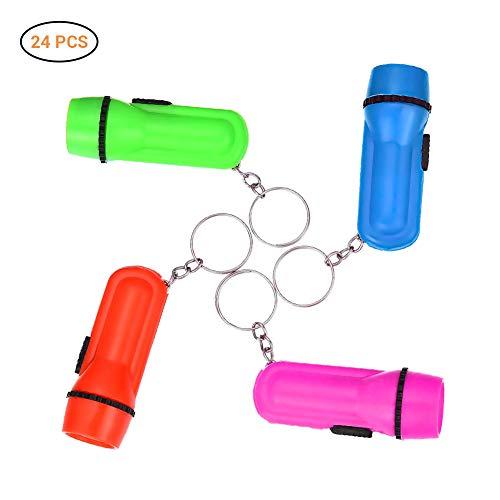 Daxoon Lot de 24 Mini Porte-clés pour Lampe de Poche et Lampe de Poche pour Enfants et Tout-Petits
