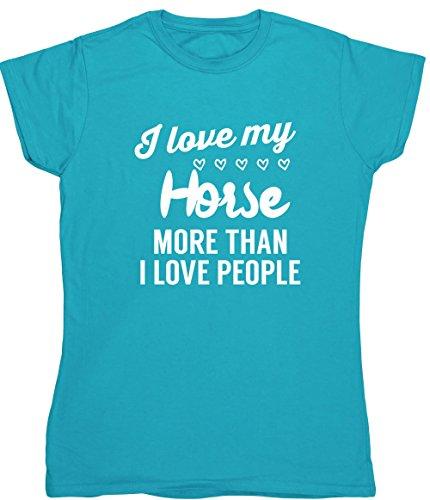 Hippowarehouse I Love My Horse mehr als ich liebe Menschen Damen Fitted Short Sleeve T-Shirt (speziellen Größenangaben in der Beschreibung) Gr. XX-Large, saphirblau (T-shirt Cowgirl Fitted)