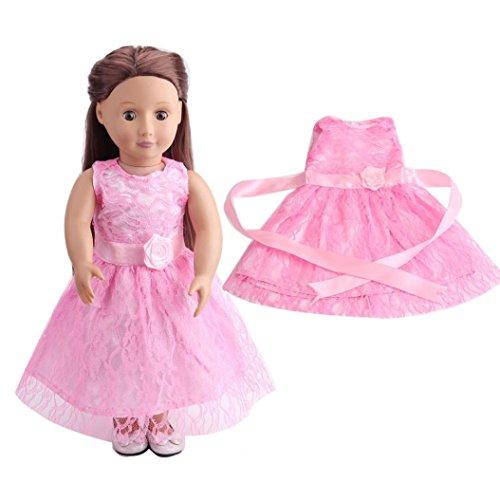 HKFV Hochwertiger Spitzenrock für 18 Zoll Unsere Generation - Rosa Doll Kostüme