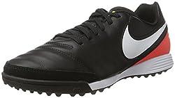 Nike Herren Tiempo Genio Ii Leather Tf Fußballschuhe, Schwarz (Black/White/Hyper Orange/Volt), 40.5 EU