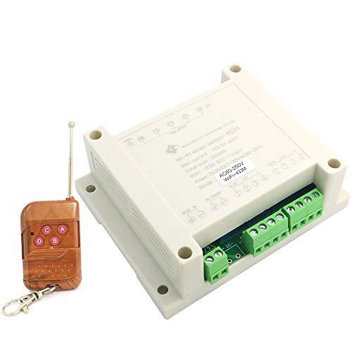 DollaTek 4-Wege-WiFi-Fernbedienung Wireless Smart Switch DIY Home Timing/Verzögerung Self-Latching/Inching / Interlocking Relais - haben Shell 220V + 433M Fernbedienung -
