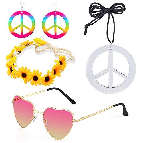 Beefunny 4 Stück Hippie Kostüm Dressing 60er Jahre Accessoires Set Friedenszeichen Halskette Blume Krone Stirnband Hippie Sonnenbrille und Ohrringe - Hippie Kostüm Für Jugendliche