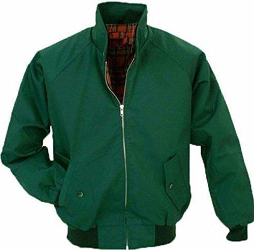 Warrior Blouson Harrington à doublure tartan pour hommes Style vintage Noir Vert - Vert