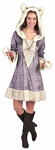 Silberfuchs Kostüm für Damen - Grau Creme - Gr. 48 50