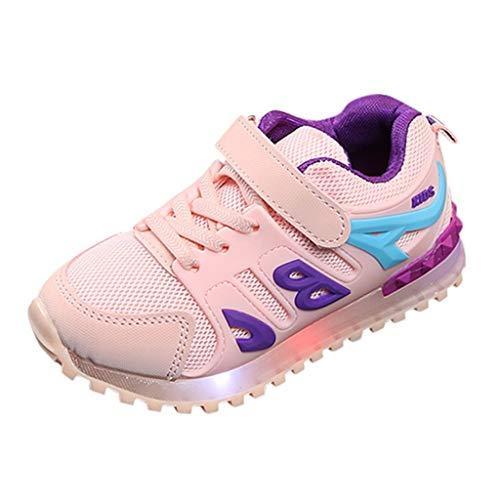 HDUFGJ Kinder Freizeitschuhe Mädchen Jungen Led Leuchtende Schuhe Outdoor Slip-On Sportschuhe Atmungsaktive Kinderschuhe Mesh Sneakers Socken Schuhe28.5 EU(Rosa)