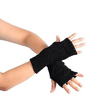 zolimx Moda punto brazo invierno guantes sin dedos guantes mitón cálido suave