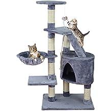 Centro de actividad en forma de árbol para gatos, Rascador juguete Natural Sisal 120cm, beige, gris