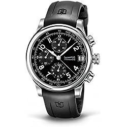 Clock Eberhard Men 31051Cu Breaker quandrante Black Steel Strap CAUCCIU '