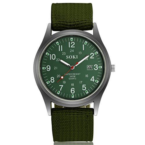 XZDCDJ Armbanduhren für Herren Uhren Billig Kalender-Uhr der 2019 Neue Gesponnene Nylongürtel-Männer Geschäfts Uhren Grün
