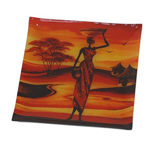 6 x Assiettes en verre (20cm) carrée thème Afrique