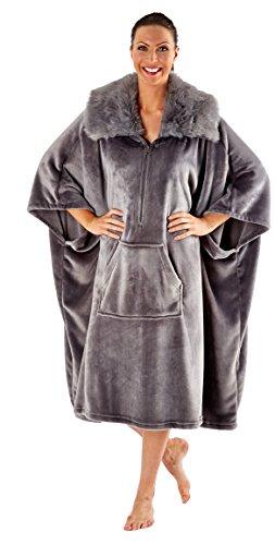 Femmes Lounge Poncho De Luxe Polaire Souple Femmes Capuche Fausse Fourrure Long Robe Chaude Gris