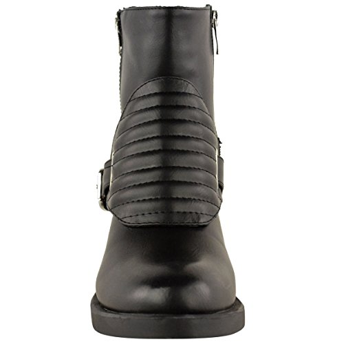Donna saffico moviepostersdirect Biker stivaletti tacco basso medio schulbuchhandlung Plateau scarpe. Ecopelle Nera