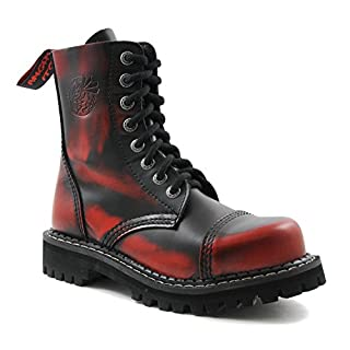 ANGRY ITCH - 8-Loch Gothic Punk Army Ranger Armee Rot Rub-Off Leder Stiefel mit Stahlkappe 36-48 - Made in EU!, EU-Größe:EU-42