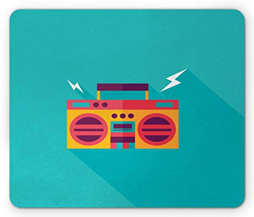 WYICPLO Music Mouse Pad, Ghetto Blaster Audio Old School Boombox with a Long Shadow, Standard Size Rectangle Non-Slip Rubber Mousepad, Turquoise Marigold Coral Dark Purple