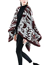 QinMM Mujer Poncho Otoño Invierno Grueso Termica Capa Elegantes Moda Vintage Talla Grande Lindo Chal Cardigan