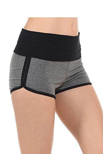 Athletische Betrieb Übung mit hohen Taille Gym Yoga Foldover Beute Shorts für Frauen Dolphin Short Gry / Blk L (Frauen Shorts Athletisch)