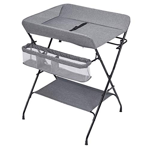 YJHJ Wickeltisch Folding Baby-Windel-Tischstation Tragbare Speicherraum Kinder Windel-Station Säuglingspflege Massage-Station Frisierkommode (Color : Gray-C) -