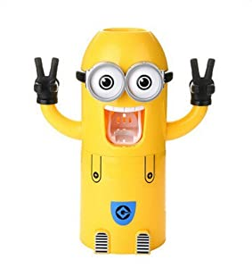 VIVISKY Wall-Mounted 2 Eyes Minions Toothpaste Dispenser and Toothbrush Holder Set Automatic Toothpaste Squeezer …
