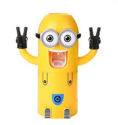 Image of VIVISKY Wall-Mounted 2 Eyes Minions Toothpaste Dispenser and Toothbrush Holder Set Automatic Toothpaste Squeezer (Yellow)