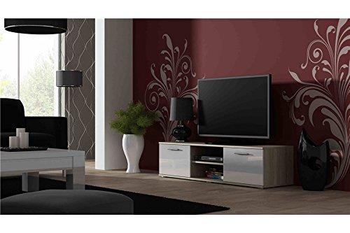 Meuble TV Design SANO 140 CM - Bois et Blanc