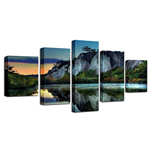 TSTLCLLMZ Wandkunst Poster Leinwanddruck Bild Bäume und Seen Landschaft für Wohnzimmer Dekoration 5 Panels Malerei-High Definition Modern Home Decor,4 High Definition Panel