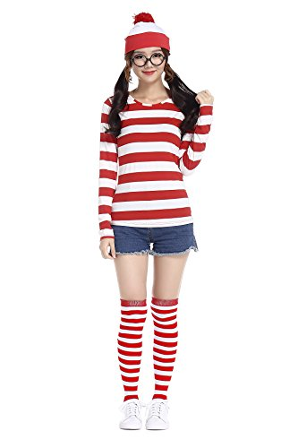 Wo Wally Herren Kostüm Ist - Halloween Wo Ist Wally Herren- Und Damenbekleidung, British Anime Character Weihnachten Cosplay Wear, Keine Objektiv Brille / Hut / Long Sleeve T-Shirt (XXL)
