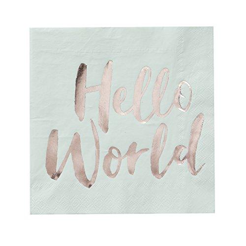 Papier Servietten Baby Dusche Ideas Dekorationen Jungen oder Mädchen Hello World 16,5cm Rose Gold Folie, Papier, multi, Set of 32