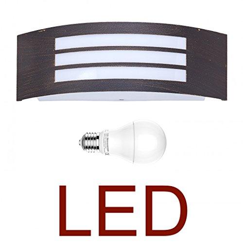 DBLV LED Wand-Außenleuchte mit & LED Leuchtmittel - Metall Antik Kupfer/Gold-Farben Außenlampe Hoflampe Gartenlampe Gartenleuchte [Energieklasse A+]