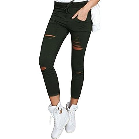 Danza Medias - Sannysis pantalones mujer jeans pantalones rotos flacos