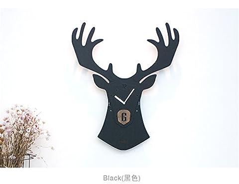 WZ Wall Clock 3D Noir Renne créatifs Animaux Rétro Grand Horloge murale à quartz Salon au style européen Silence de bois décoratifs